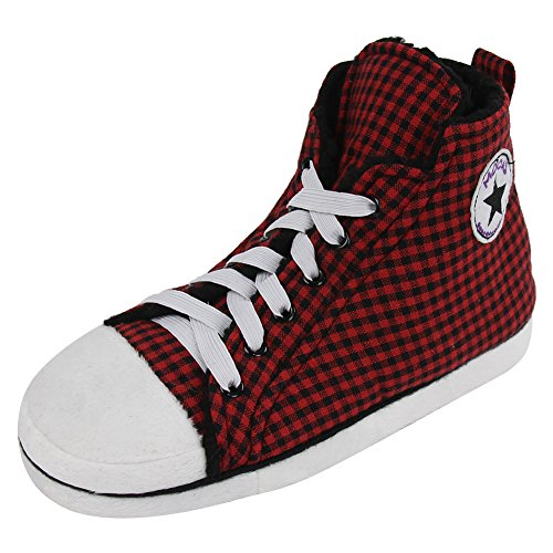 (Home Slipper Men's Plush Fabric Indoor House Bedroom Fashion Sneaker Slippers Boots,Red Black Check,US 10)