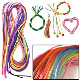 AMOS Scoubi Scooby Scoubidou Scoobies 50 Pack Weaving Fashion Strings Friendship Bracelet Jewellery Making Craft Kids Party Bags Toy Game (Assorted Colours)