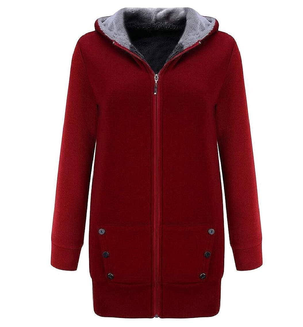 Jaycargogo Womens Thicken Hoodie Mid Long Fleece Front-Zip Jackets Sweatshirts