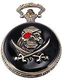 AMPM24 Men's WoMen's Retro Skull Pirate Black Copper Pocket Quartz Fob Watch WPK109