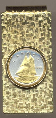 Bluenose boat on Canadian Gold Money clips Toned 2 Sail Silver Coin Gorgeous wP8tYXqE
