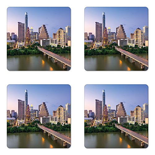 Ambesonne Modern Coaster Set of 4, Austin Texas American City Bridge over the Lake Skyscrapers USA Downtown Picture, Square Hardboard Gloss Coasters for Drinks, Sky -