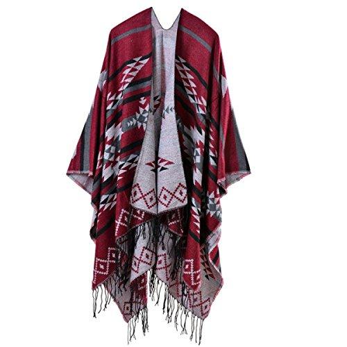 Bufanda Mujer De Gran Tamaño Grueso Multi-Color Caliente De Lujo Borla Mantón De La Bufanda Red