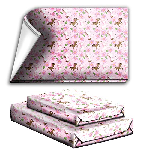 Lovely Pink Horse Birthday Party Holiday Wrapping Paper Gift Wrap Premium Quality Paper