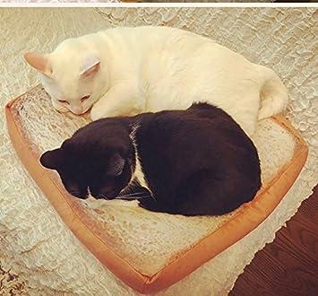 HAPPYX Cama de gato Cama en forma de pan sandwich, Soft Warm Máquina Lavable Microfiber Bolstered ...