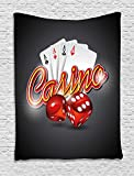 Ambesonne Poker Tournament Decorations Tapestry, Vibrant Dices and Playing Card Casino Theme Luck Risky Game, Wall Hanging for Bedroom Living Room Dorm, 60 W X 80 L Inches, Multicolor
