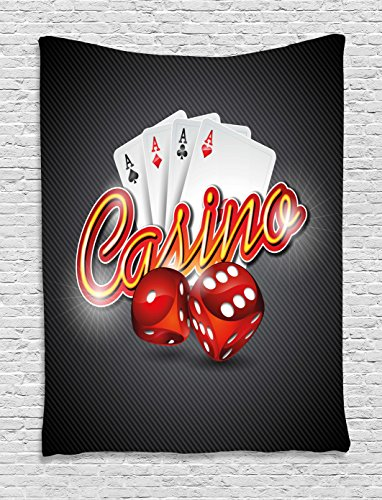 Ambesonne Poker Tournament Decorations Tapestry, Vibrant Dices and Playing Card Casino Theme Luck Risky Game, Wall Hanging for Bedroom Living Room Dorm, 40 W X 60 L Inches, -