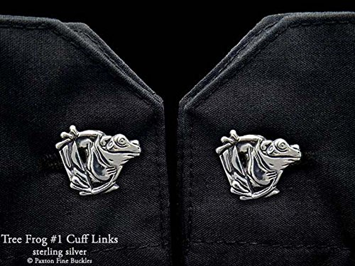 Tree Frog 1 Cuff Links in Solid Sterling Silver Hand Carved & Cast by Paxton by Paxton Jewelry