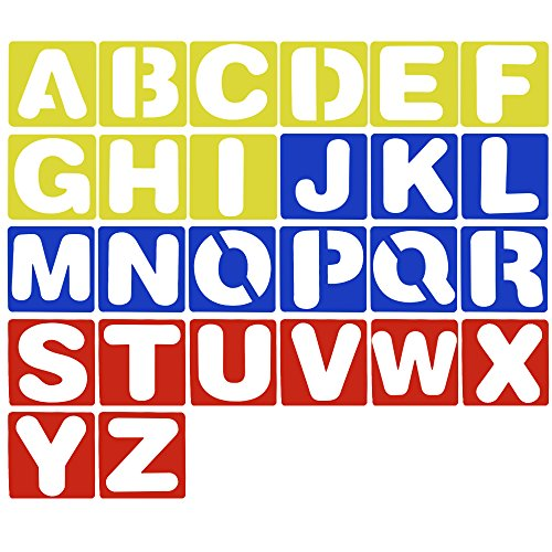 Meetory 26 Pcs Plastic Alphabet Stencils,Lettering Guide for Painting Learning DIY