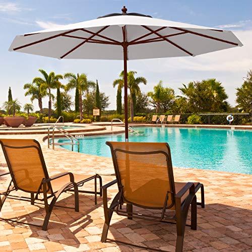 Tangkula Patio Umbrella Height Adjustable Wood Pole Outdoor Sun Shade Beige (9ft)