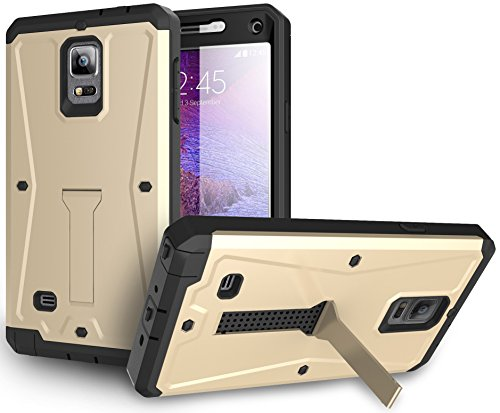 Samsung Galaxy Note 4 Case / Samsung Galaxy Note 4 Heavy Duty Case HEAVY DUTY HYBRID ARMOR TANK STAND CASE WITH BUILT IN SCREEN PROTECTOR (Tank Case Gold)