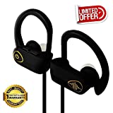 Electrics Solution Bluetooth Headphones Wireless Headphones Bluetooth 4.1 w/ Mic, IPX7 Waterproof, HD Stereo Sweatproof Earbuds, for Gym Running Workout, Noise Cancelling Headsets (Black)