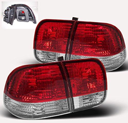 ZMAUTOPARTS 96-98 HONDA CIVIC 4DR SEDAN CRYSTAL TAIL LIGHTS RED/CLEAR Civic 4dr 4 Door Sedan