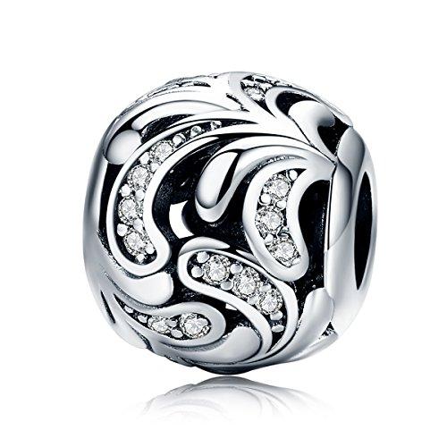 (BAMOER 925 Sterling Silver Shining Zircons Blossom Flowers Beads Charm for Women Snake Bracelet Necklace Charms)