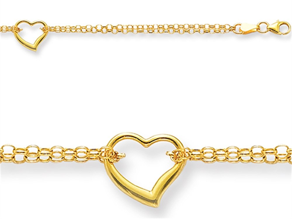 Finejewelers 10 Inches 1 Hearts Ankle Bracelet 14 kt Yellow Gold