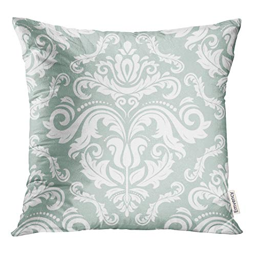 d6ea7080319a Semtomn Decorative Throw Pillow Case Cushion Cover Blue Organic Floral  Oriental Pattern Damask Arabesque and Abstract Flower 16x16 Inch Cases  Square ...
