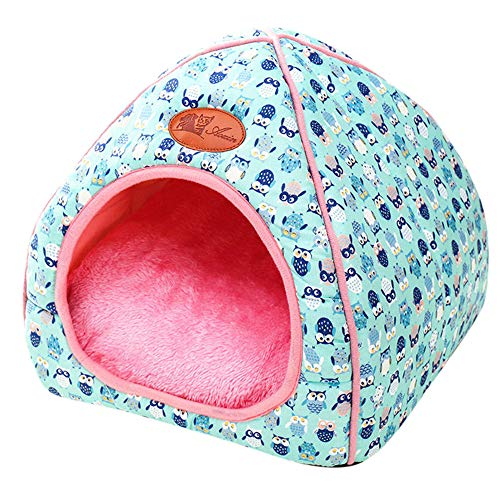 Longay Pet Dog Cat Tent House Kennel Winter Warm Nest Soft Foldable Sleeping Mat Pad (M, Blue)
