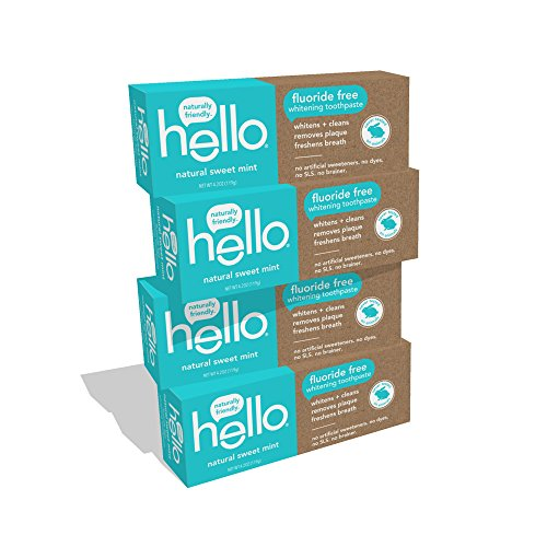 Hello Oral Care Fluoride Free Whitening Toothpaste with No Artificial Sweeteners or SLS, Sweet Mint, 4 Count