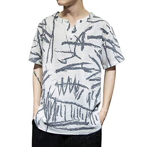 (Men's Summer Casual Cotton Linen Vintage Style Half Sleeve T Shirt Top Blouse White)