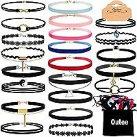 Outee Black Choker Set, 30 Pcs Choker Necklaces Velvet Choker Set Henna Tattoo Choker Ribbon for Teen Girls Women