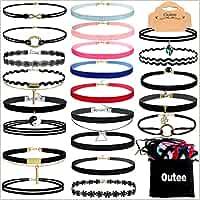 Outee Set de 30 gargantillas para mujeres de todas las edades; estilos: encaje de terciopelo negro, gargantilla-tatuaje de henna y cinta.