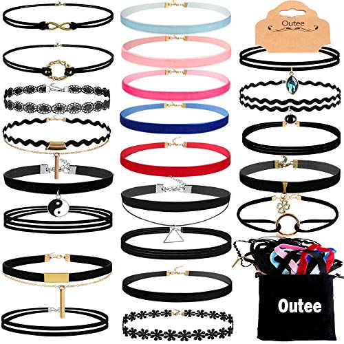 Outee Black Choker Set, 30 Pcs Choker Necklaces Velvet Choker Set Henna Tattoo Choker Ribbon for Teen Girls Women]()