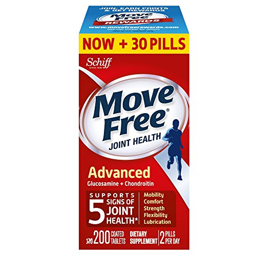 Move Free Advanced Glucosamine and Chondroitin Joint Health Supplement Tablets, 200 Count