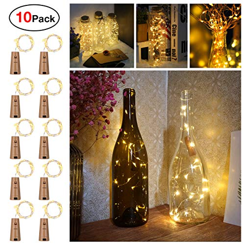 Sanniu Bottles Lights, 10 Packs Imitation Cork Copper Starry Wine Bottle Fairy Lights, Battery Powered Warm White Wire Bottle Lights for Bedroom, Parties, Wedding, Decoration(2m/7.2ft Warm White)