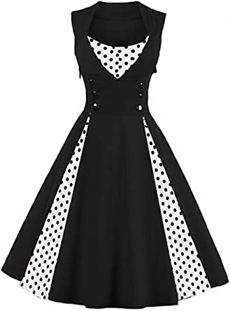 2019 Women Vintage Dress,Sleeveless Dot Print Button Bodycon Patchwork Vintage Evening Party Swing Dress Plus Size