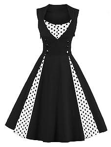 Killreal Women's Polka Dot Retro Cocktail Swing Dresses