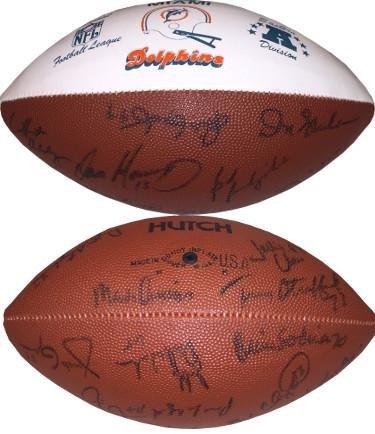 Miami Dolphins 1987-1989 Vintage Team signed NFL Hutch Logo Football 19 sigs Dan Marino, Don Shula, Jim Jensen- Beckett LOA - Beckett Authentication