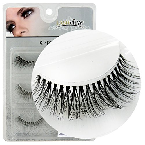 LASHVIEW 3Pairs Natural Voluminous Makeup Thick False Eyelashes Crisscross Soft Black Handmade Eye Lashes VB