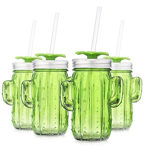 (Set of 8 Green Cactus Shape Glass Sipper with Metal Lids & Plastic Straws (13.5 Oz))