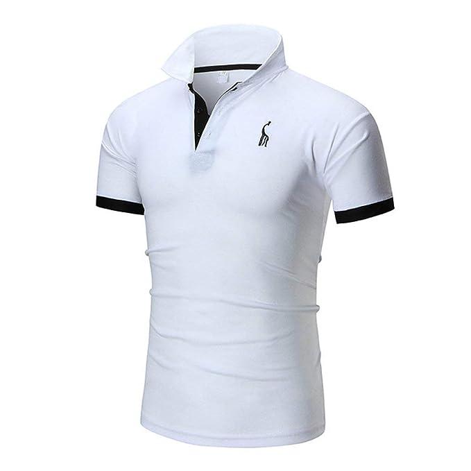 Camisas De Polo Hombres Tops De Cuello Jirafa Bordado Algodón Camisetas Golf Rugby Casual Camiseta Básica