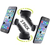 Pop Design Universal Cell Phone Holder Car Mount Stand (2 Pack) for Samsung Galaxy S9 / S9 Plus, iPhone 8/8 Plus/X, Nokia 6.1 and Google Pixel 2