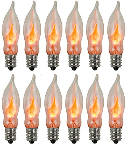 Holiday Joy - Flicker Flame Crystal Clear Flame Tip Candelabra Replacement Bulbs - Great for Electric Window Candle Lamps - CA5 - E12-1 Watt - 120 Volts (12 ()