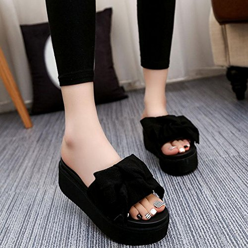 Casual Plattform High Dick Heel Fashion Komfort Boden Bowknot Sandalen Sommer Hausschuhe Strand Wedge Ferse Black Schuhe wasserdichte LvYuan Frauen 7FqAPI7