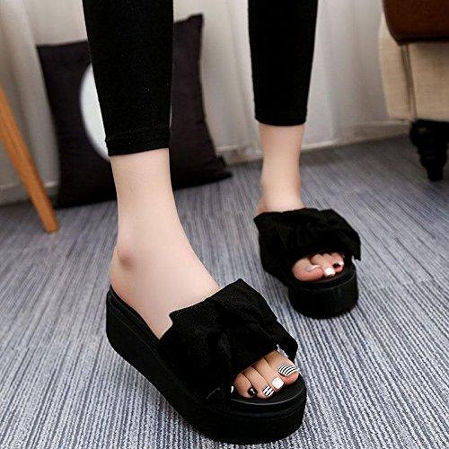 Schuhe Bowknot Ferse Sommer Fashion Komfort Hausschuhe Frauen Sandalen Plattform Dick Wedge LvYuan Casual Heel Strand Boden wasserdichte Black High RqS6THHw