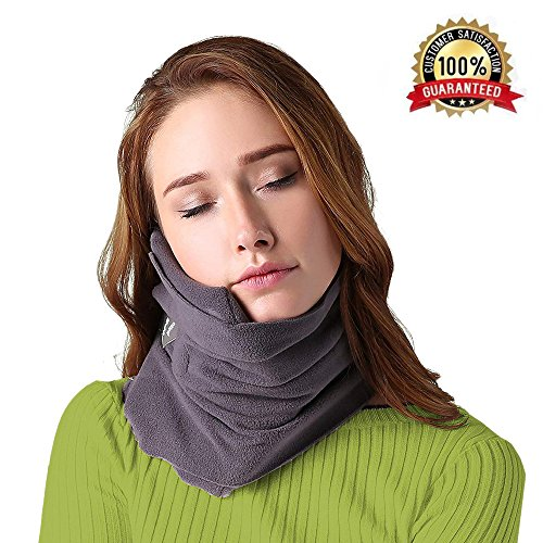 B-COMB Travel Pillow -Travel Neck Pillow Scarf Portable Soft Neck Support Perfect Pillow for Any Sitting Position Airplane Sleep Pillow - Plane Travel Accessory - Memory Foam- Adjustable For All Sizes