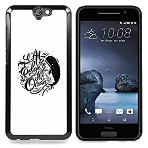 - Edge Ocean Whale Inspiring White Text - - Snap-On Rugged Hard Cover Case Funny HouseFOR HTC ONE A9