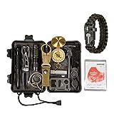 Survival Gear Kit 14 in 1- Outdoor Emergency Survive Tool for Wilderness/Trip/Hiking/Camping gear/Survival Bracelet, Wire Saw, Emergency Blanket, Flashlight, Tactical Pen, Water Bottle Clip