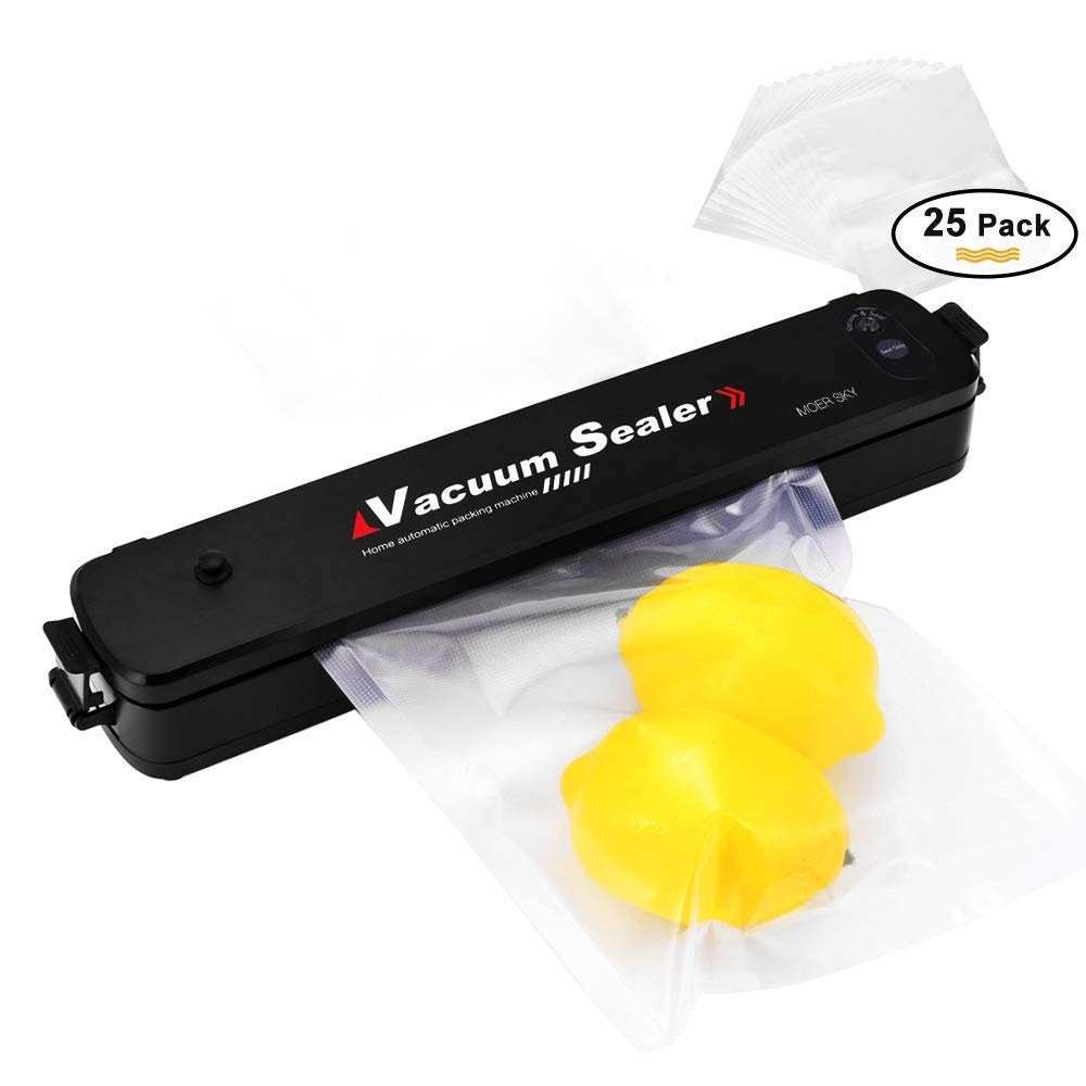 Vacuum Sealer Machine, Moer Sky Automatic Mini Portable Home Vacuum Air Sealing System for Food Preservation/Starter Kit | Led Indicator Lights | Dual Capacitance Design + 25pcs Sealer Bags