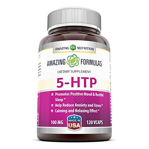Amazing Formulas 5 HTP Supplement * 100mg Hydroxytryptophan Capsules Made from Griffonia Simplicifolia Seed Extract * Natural Sleep Support & Relaxation Aid * 120 Vegetarian Capsules Per Bottle