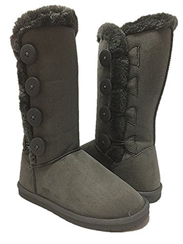 Womens Fur Mid-calf 4 Buttons Faux Soft Snow Winter Flat Boot Shoes NEW Gray CpTrRrWdh