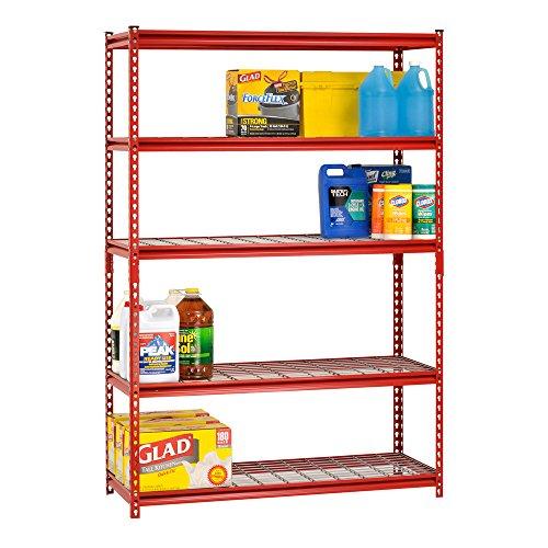 """Muscle Rack UR184872-R 5-Shelf Steel Shelving Unit, 48"""" Width x 72"""