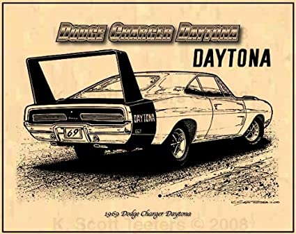 Amazon Com 1969 Dodge Charger Daytona Muscle Car Art Print Rear 3