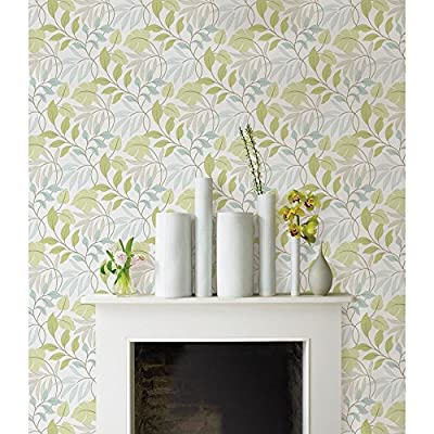 Brewster Blue and Green Meadow Peel and Stick Wallpaper