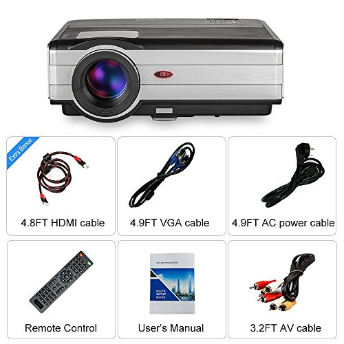 HD Movie Projector 1080p Outdoor Indoor 3500 Lumens, 200'' Video Projector Full HD 1280x800, Home Theater Projector Dual HDMI USB for Laptop iPhone Smartphone Mac Game with Speaker 50,000hrs Led Lamp by CAIWEI (Image #8)'