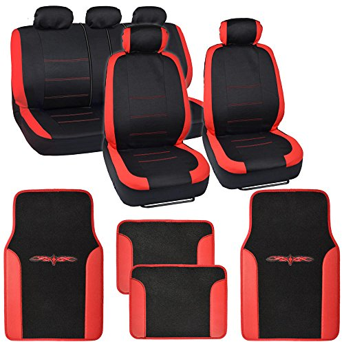 Venice Car Seat Covers w/ Vinyl Trim Floor Mats - Striped Red Accent on Black - Cover Floor Front Vinyl