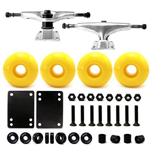 """5.0 Skateboard Trucks (Silver), Skateboard wheels 52mm, Skateboard Bearings, Skateboard Pads, Skateboard Hardware 1"""" (52mm Yellow)"""